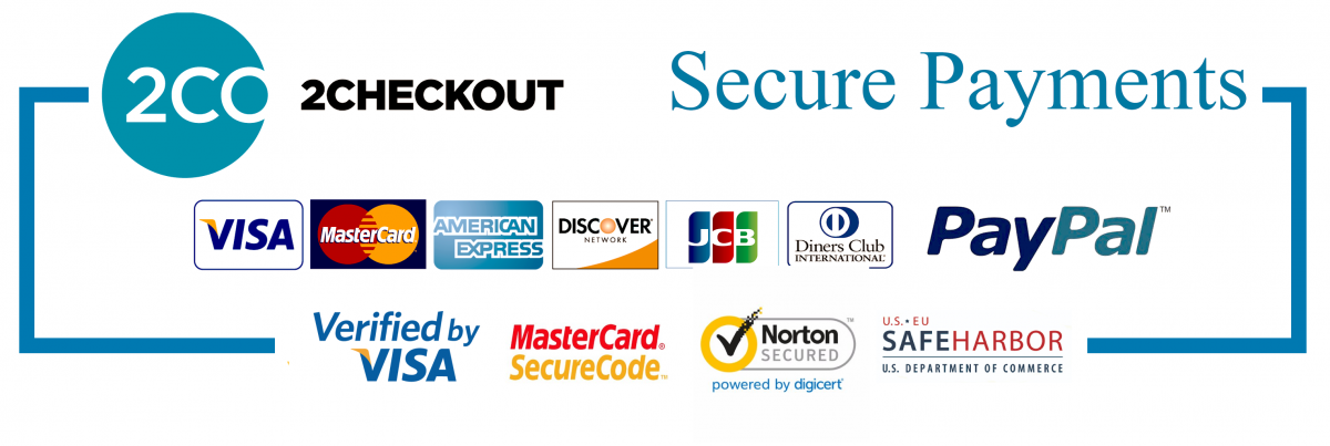 2checkout Verified, Verified by Visa, MasterCard SecureCode, Norton powered by DigiCert, SAFEHARBOR