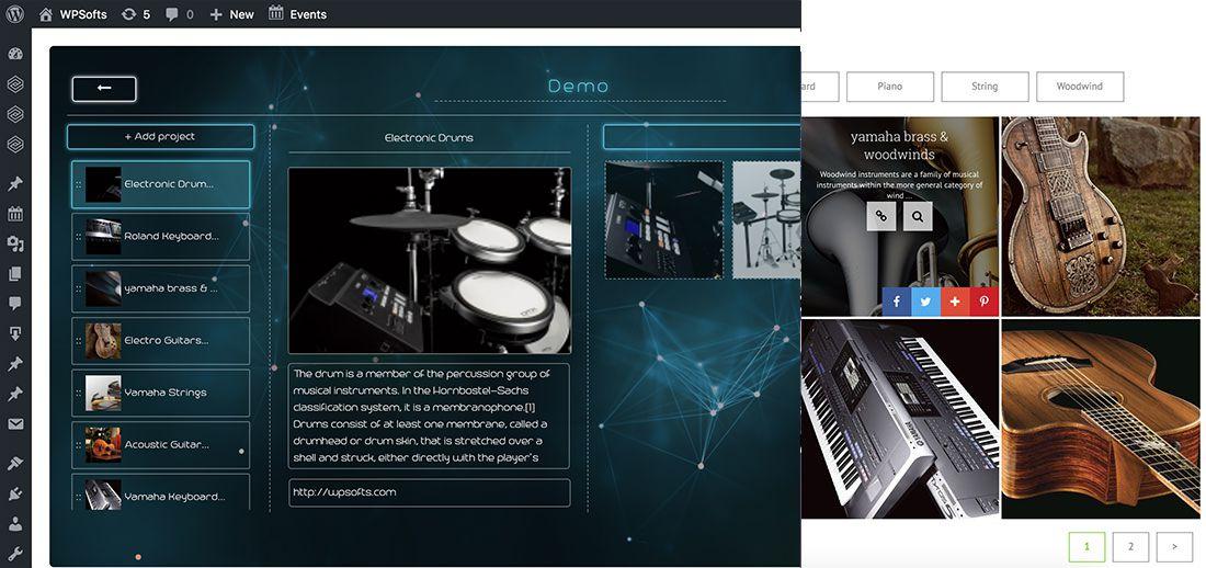 Admin dashboard for WordPress GridKit Portfolio Gallery